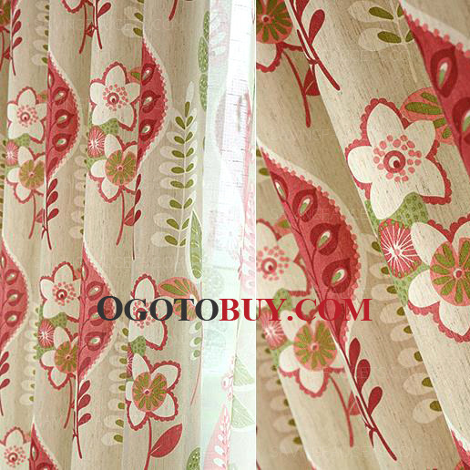Country Curtains Red Leaf Floral Print Linen/Cotton Room Darkening ...