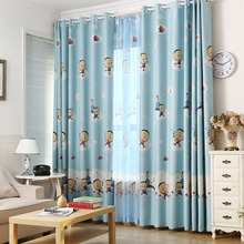Kids Curtain Beautiful Baby Blue Cartoon Pattern Print Polyester