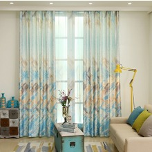 Decorative Modern Blue Mediterranean Style Tie dye Eco-friendly Window Curtain For Bedroom