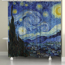 Ready Made Modern Brief Van Gogh Blue Star Artistic Print Blackout Custom Window Curtain For Bay Window And Living Room