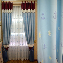 Blue Top Grade Linen Cotton Blackout Nautical Pattern Curtain For Kids Room Boys Bedroom