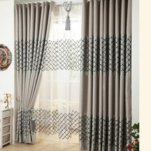 Silver Gray Geometric Embroidery Poly/Cotton Blend Soundproof Modern Curtains for Bedroom