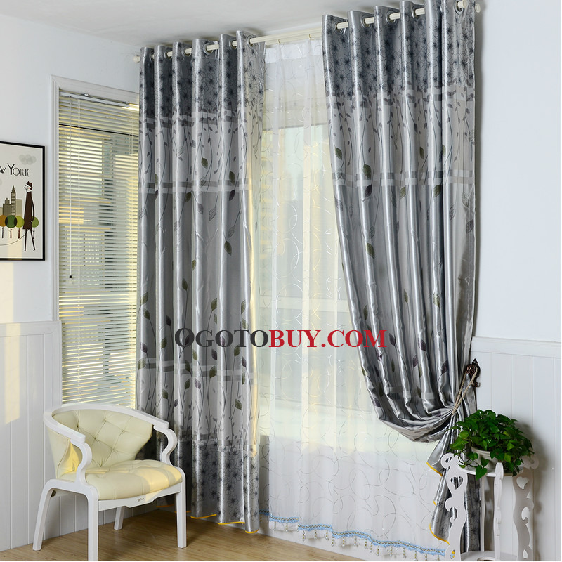 Gray Botanical Print Polyester Country Curtains for Bedroom or ...