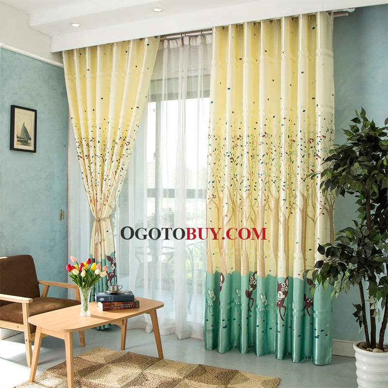 Yellow Botanical And Animal Print Polycotton Blend Country Rhogotobuy: Country Curtains For Bedroom At Home Improvement Advice
