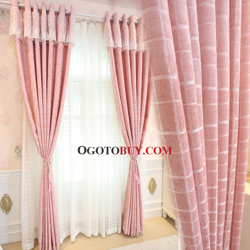 Pink Gingham Print Chenille Thermal Elegant Curtains for Bedroom or Girls  Room  Pink Gingham Print. Pink Curtains For Bedroom