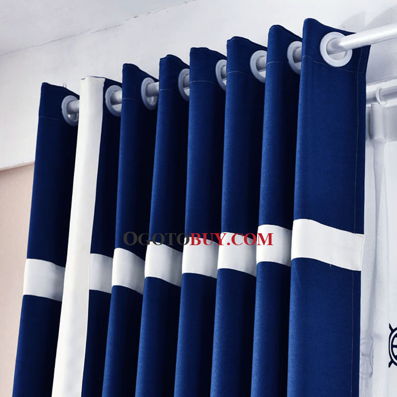 Navy And White Print Color Block Linen Cotton Blend Contemporary Bedroom Or Living Room Curtains