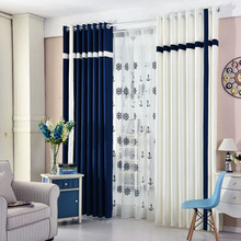 Navy and White Print Color Block Linen/Cotton Blend Contemporary Bedroom or Living Room Curtains on Sale