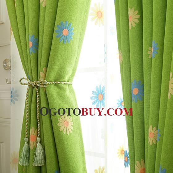 Country Curtains country curtains on sale : Green Floral Embroidery Linen Country Curtains on Sale for Bedroom ...