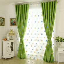 Green Floral Embroidery Linen Country Curtains on Sale for Bedroom or Living Room