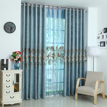Blue Floral Embroidery Chenille Thermal Curtains for Bedroom or Living Room