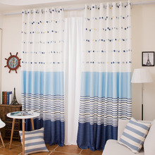 Blue and White Striped Print Linen/Cotton Blend Mediterranean Curtains for kids Room