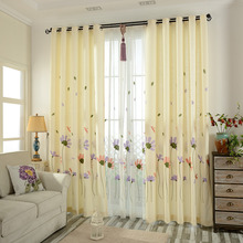 Yellow Floral Embroidery Cotton Country Curtains for Bedroom or Living Room