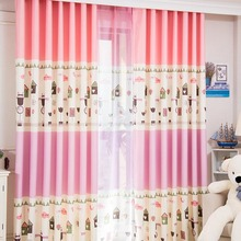 Pink House patterned Print Polyester Insulated Kids Curtains on Sale