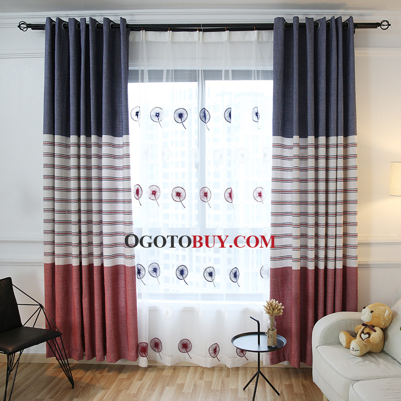 Loading zoom. Blue and Red Striped Print Chenille Color Block Thermal Bedroom or