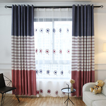 Blue and Red Striped Print Chenille Color Block Thermal  Bedroom or Living Room Curtains on Sale