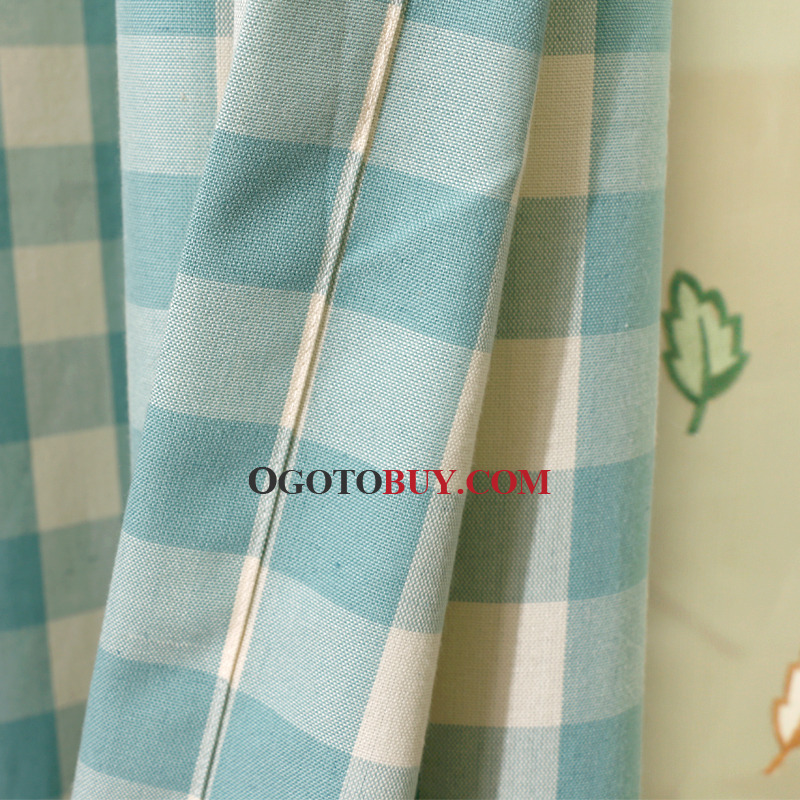 Lime Green Gingham Print Poly/Cotton Blend Country Curtains for ...