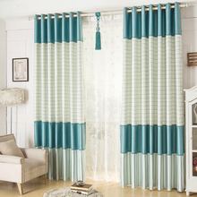 Blue Gingham Print Cotton Custom Color Block Bedroom or Living Room Curtains