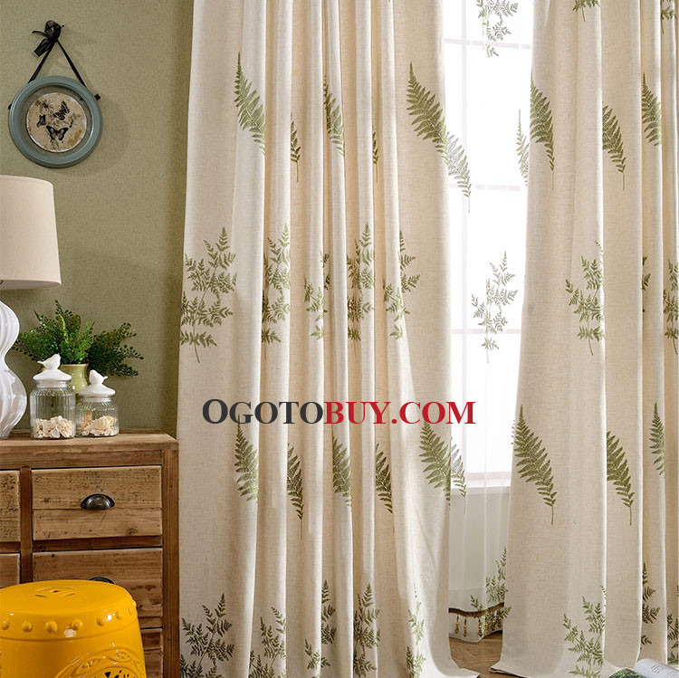 Beige and Green Leaf Embroidery Linen/Cotton Blend Country Living ...
