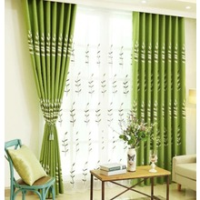 Green Botanical Embroidery Linen/Cotton Blend Country Curtains for Bedroom