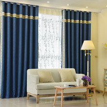Blue Print Patterned Poly/Cotton Blend Modern Bedroom Curtains