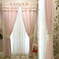 Pink Patterned Print Chenille Thermal Elegant Bedroom Custom Curtains(without head)