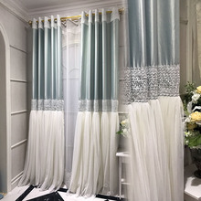 Baby Blue Embroidery Polyester and Yarn Modern Bedroom Curtains