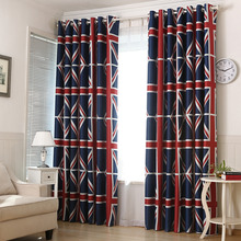Navy Blue Striped Print Polyester Insulated Custom Bedroom Curtains