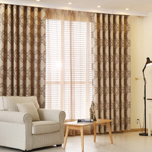 Light Coffee Geometric Embroidery Polyester and Linen Modern Curtains