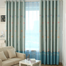 Baby Blue Patterned Print Polyester Insulated Cute Kids Curtains