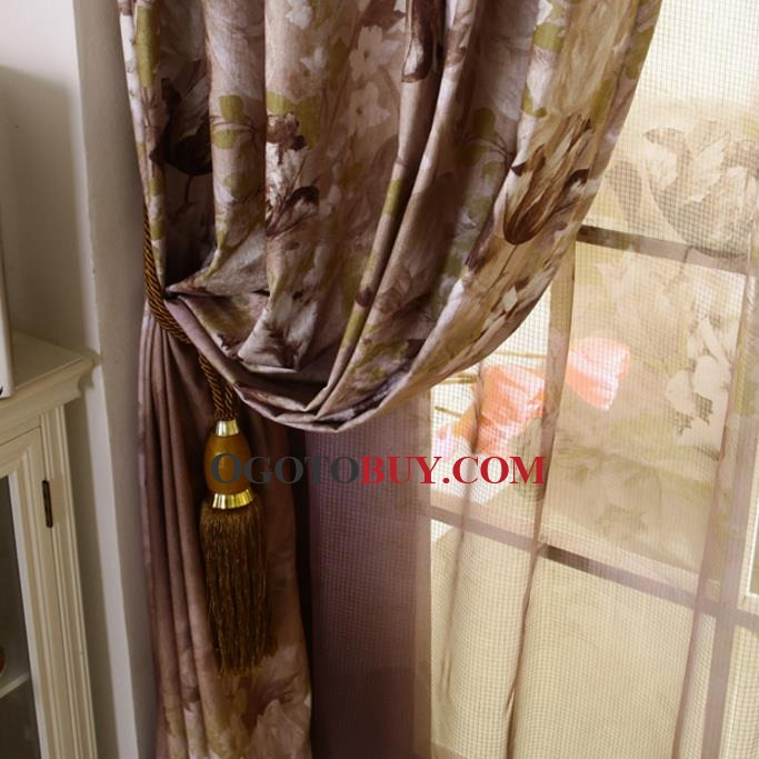 Coffee Print Floral Chenille Thermal Country Curtains on Sale