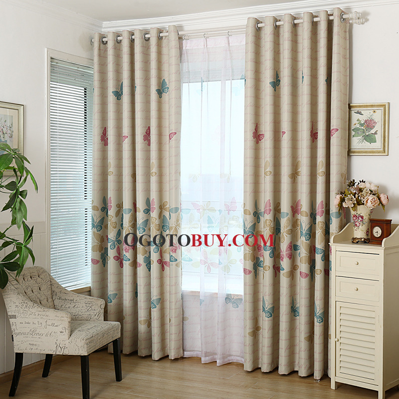 Light Coffee Butterfly Print Polyester Elegant Living Room Curtains