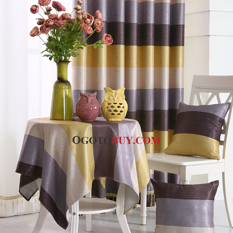Colorful Print&Jacquard Horizontal Striped Polyester Funky Bedroom Curtains