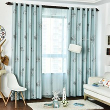 Blue Patterned Print Polyester Insulated and Blackout Window Curtains
