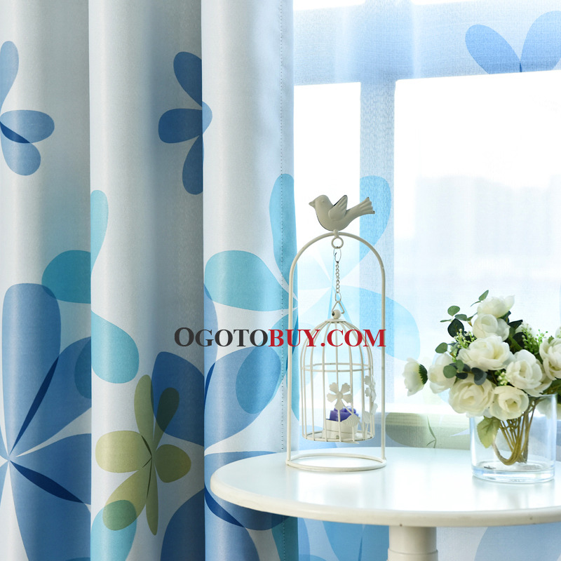 Blue Print Floral Polyester Insulated Window Curtains