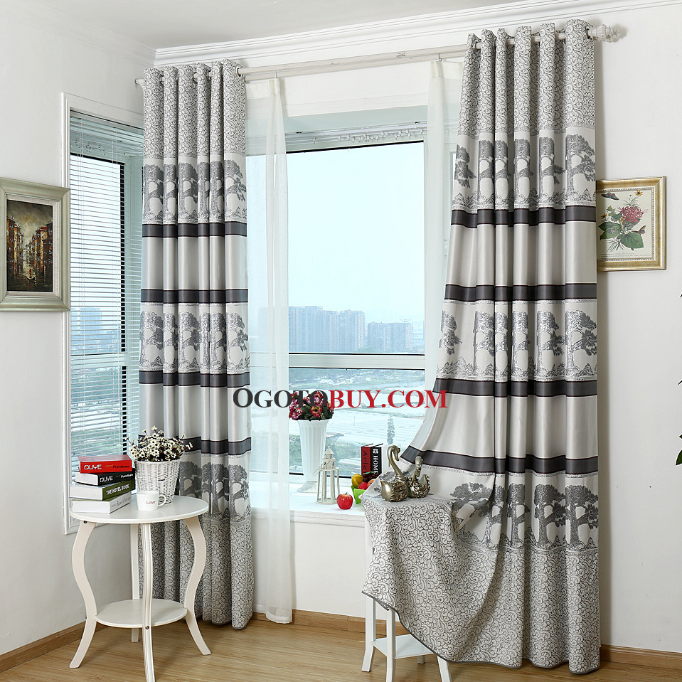 Grey Tree Jacquard Poly/Cotton Blend Country Window Curtains on Sale