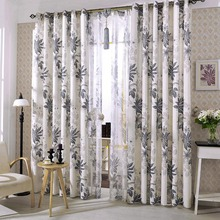 Affordable Beige Leaf Print Linen Country Long Curtains