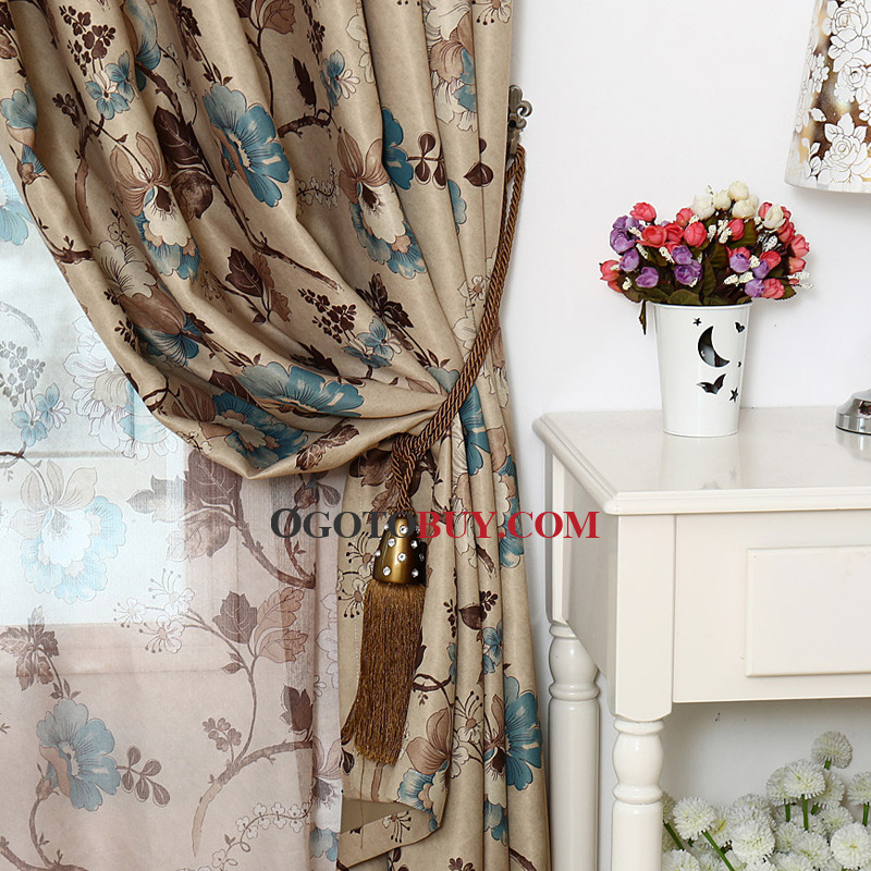 Coffee and Blue Floral Print Polyester Insulated Vintage Bedroom Curtains
