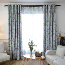 Blue Botanical Print Polyester Insulated Pastoral Custom Curtains