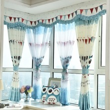 Blue and White Animal Print Poly/Cotton Blend Custom Short Kids Curtains(without valance)