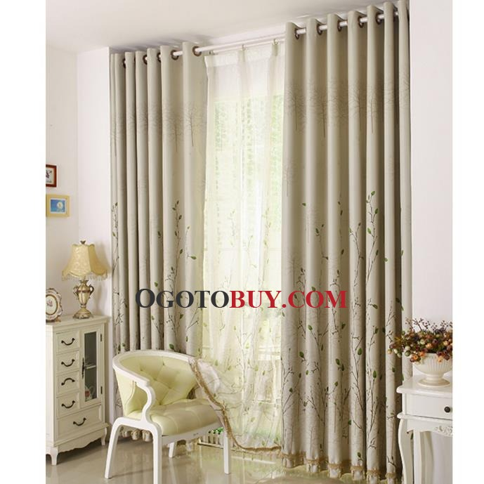Affordable Beige Botanical Print Insulated Country Bedroom Curtains   Loading zoom. Affordable Beige Botanical Print Insulated Country Bedroom