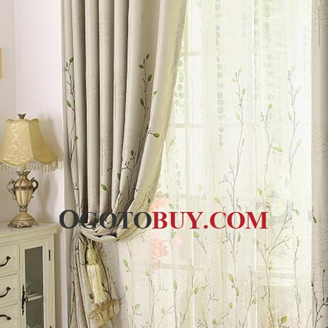 Affordable Beige Botanical Print Insulated Country Bedroom Curtains. Affordable Beige Botanical Print Insulated Country Bedroom