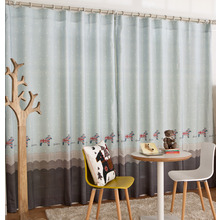 Blue and Gray Animal Print Linen/Cotton Blend Modern Kids Curtains