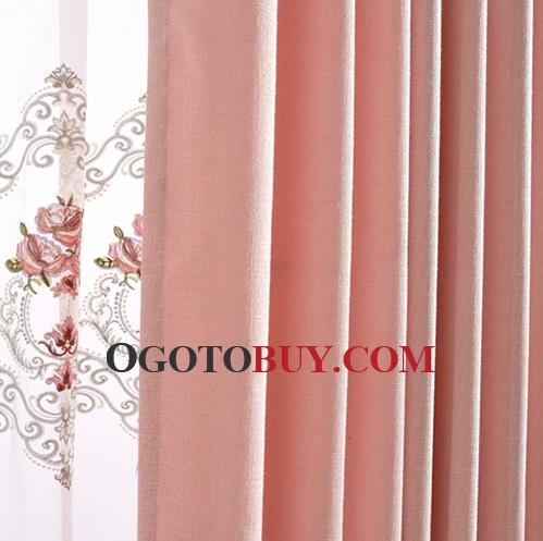 Pink Floral Embroidery Elegant Linen Bedroom Curtains