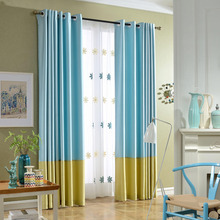 Blue Color Block Print Poly/Cotton Blend Custom Curtains