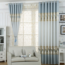 Baby Blue Geometric Jacquard Poly/Cotton Blend Funky Window Curtains
