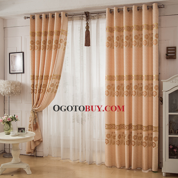 Beige Floral Jacquard Poly/Cotton Blend Elegant Window Curtains