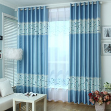 Blue Geometric Print Polyester Insulated Custom Bedroom Curtains