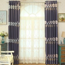 Dark Navy Botanical Elegant Polyester Insulated Waterproof Curtains