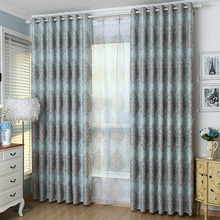 Blue Damask Elegant Blackout Energy Saving Curtains on Sale