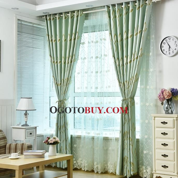 cheap green striped leaf insulated heat blocking curtains, buy